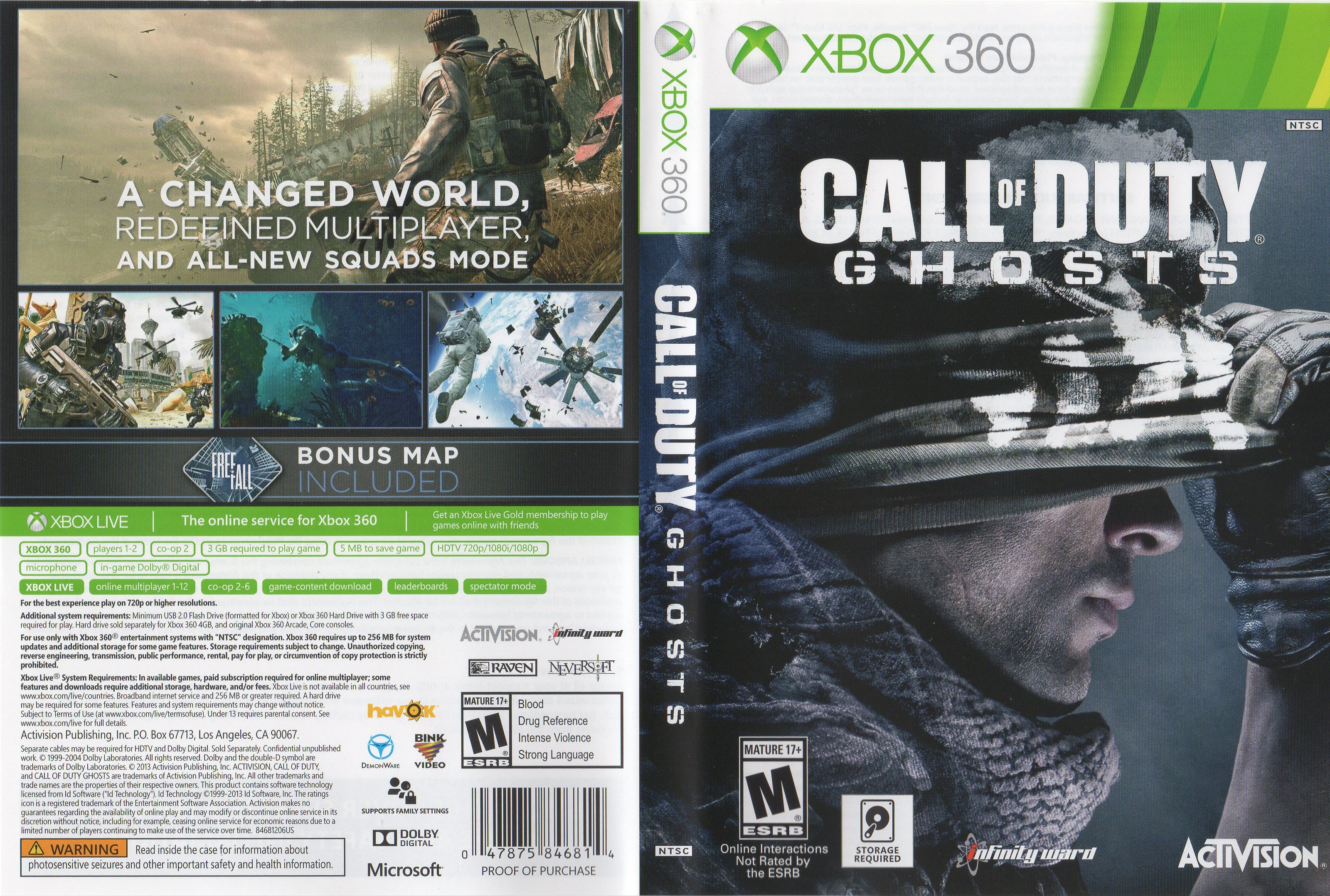 Call Of Duty Ghosts Xbox 360 Cover